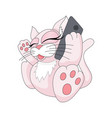cute and adorable colorful kitten with phone vector image vector image