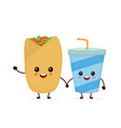 cute funny smiling happy buritto vector image vector image