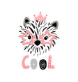 cute princess dog in glasses ink drawn print vector image