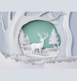 deer in forest with snow in winter season vector image vector image