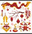 dragon and sakura chinese new year symbols vector image vector image