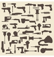 Electric construction tools silhouette icons set vector image vector image