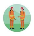 firefighters team cartoon vector image