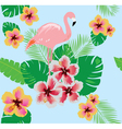 flamingos flower seamless vector image vector image
