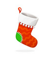 flat christmas sock for gifts vector image vector image