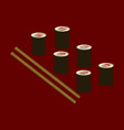 flat shading style icon sushi and sticks vector image