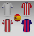 football kit spanish clubs t-shirt template vector image