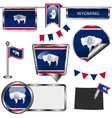 Glossy icons with Wyomingite flag vector image vector image