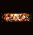 golden bitcoin horizontal banner digital currency vector image vector image