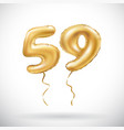 golden number 59 fifty nine metallic balloon vector image vector image
