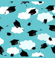graduates hats in the clouds sky seamless pattern vector image vector image