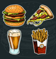 junk fast food burger and pizza beer and french vector image