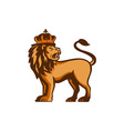King Lion Crown Looking Side Retro vector image vector image