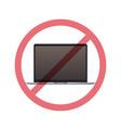 laptop in prohibition sign digital detox concept vector image