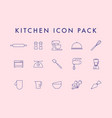 line icons set in flat design elements cooking