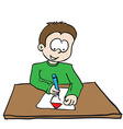 little boy drawing a house vector image vector image