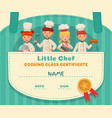 little chef certificate cooking class chefs vector image vector image