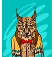 Lynx in knitted sweater vector image vector image