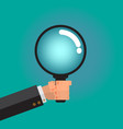 magnifying glass in male business man hand vector image