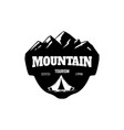 Mountain tourism emblem template with rock peak