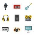music stuff icon set flat style vector image vector image