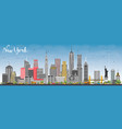 new york usa skyline with gray skyscrapers and vector image vector image