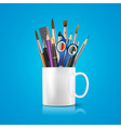 realistic cup with office supplies vector image vector image