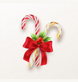 realistic xmas candy cane with red bow and a sprig vector image