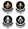 royal lily icons collection on white vector image