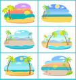 sandy beaches in broad daylight and at sunset set vector image vector image