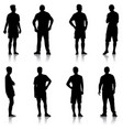 set black silhouette man standing people on white vector image