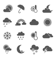 Set of black and white weather icons vector image