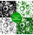 set st patricks day seamless patterns vector image