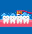 smiling clean teeth brushing paste vector image vector image
