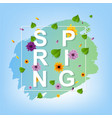 spring text with leaf vector image vector image