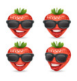 sunglasses 3d realistic fruit design strawberry vector image vector image