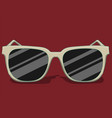 sunglasses in white colors lie on a red background vector image