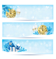 three christmas banners with gift boxes vector image vector image