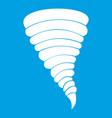 tornado icon white vector image vector image