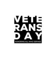 usa veterans day in negative space vector image