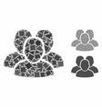 user group composition icon bumpy pieces vector image vector image