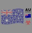 waving australia flag pattern biohazard items vector image vector image