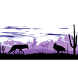 wild horses coyote and eagle in the steppes vector image