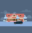 winter country house flat pink home vector image vector image