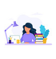 woman with laptop education or working concept vector image vector image