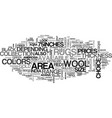 wool area rugs text word cloud concept vector image vector image
