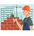 Builder with trowel vector image