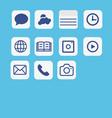 icons application set multimedia icon set on blue vector image