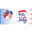 4 july independence day usa balloons banner vector image