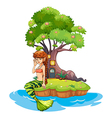 A beautiful mermaid near the treehouse vector image vector image